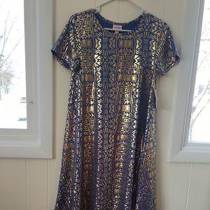 NWT LuLaRoe Elegant Carly S Aztec Blue & Gold Foil